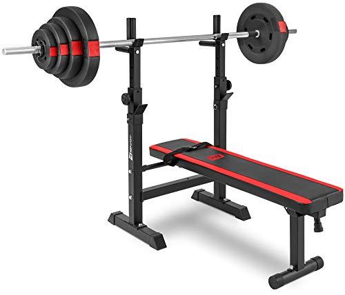 Hop-Sport klappbare Hantelbank Kraftstation 1080 mit Langhantel Set Stange Gewichte 39/69/99 kg zur Wahl (69kg Gewicht + Langhantel)